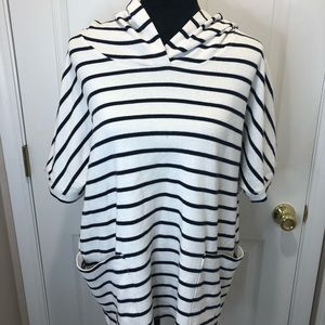 Jane and Delancey black white striped hooded top